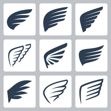 angel silhouette: wings icons set
