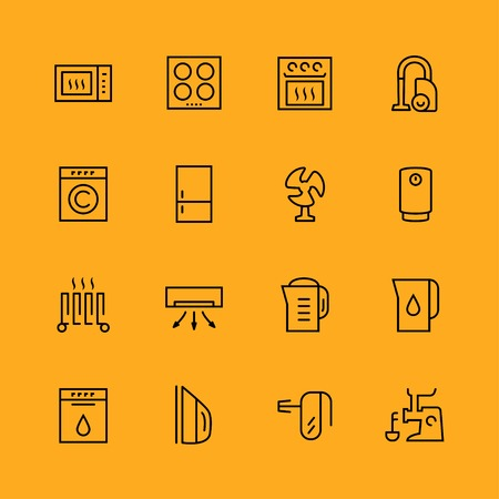 Home appliances icons set, thin line Vector