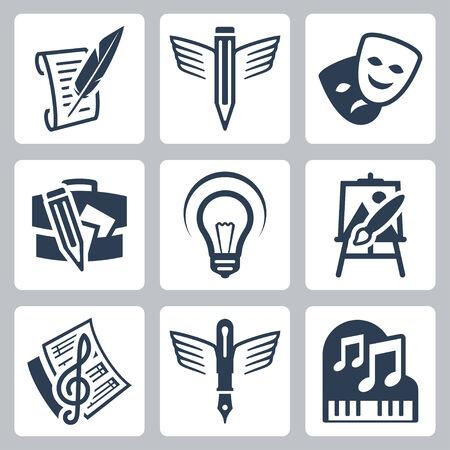 dramatics: Art related vector icons set: pencraft, dramatics, portfolio, creative, painting, music-making