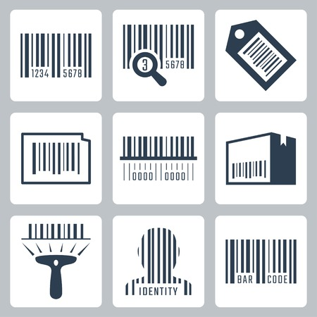 barcode scan: Bar code related vector icons set