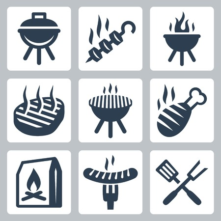 charcoal grill: Grill and barbeque related vector icons set
