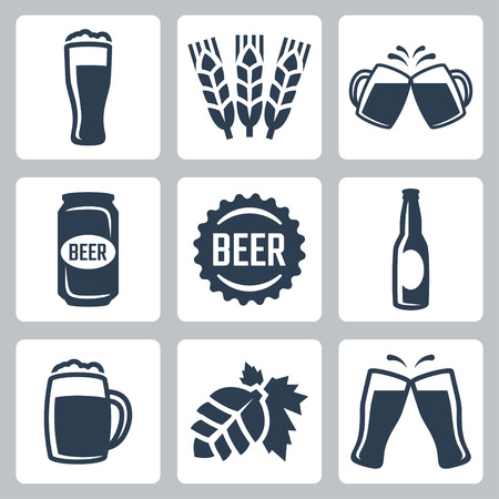 glass cup: Beer related vector icons set