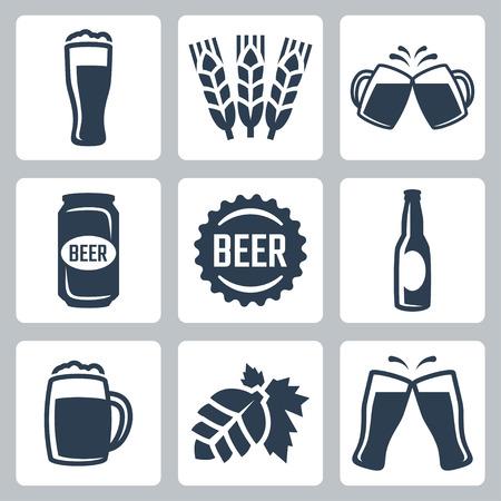 cebada: Cerveza relacionada iconos conjunto de vectores Vectores