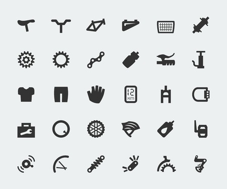 Spare parts for bicycle vector big icons set Vector