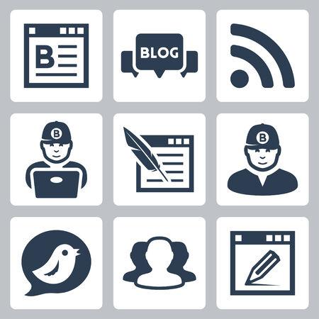 Blog and blogger vector icons set  イラスト・ベクター素材