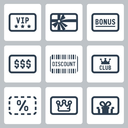 Special cards icons set: VIP, gift, bonus, discount, club card Vectores