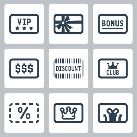 Special cards icons set: VIP, gift, bonus, discount, club card Stock Illustratie