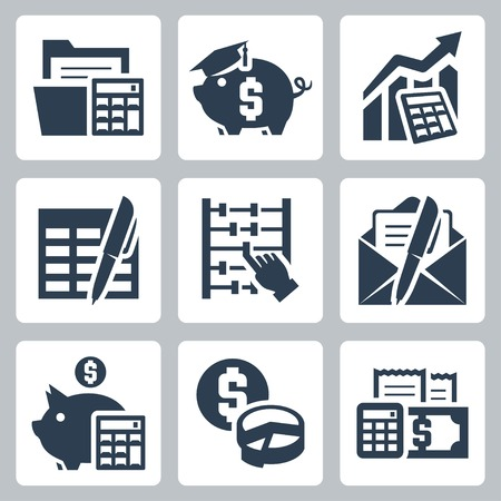 estimation: Budget, accounting vector icons set Illustration