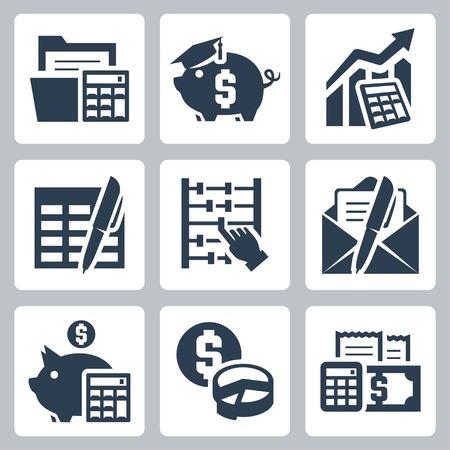 Presupuesto, iconos conjunto de vectores que representan Ilustración de vector