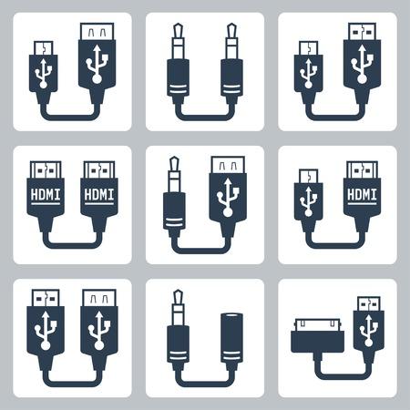 アダプターのコネクタのベクトルのアイコンを設定  イラスト・ベクター素材