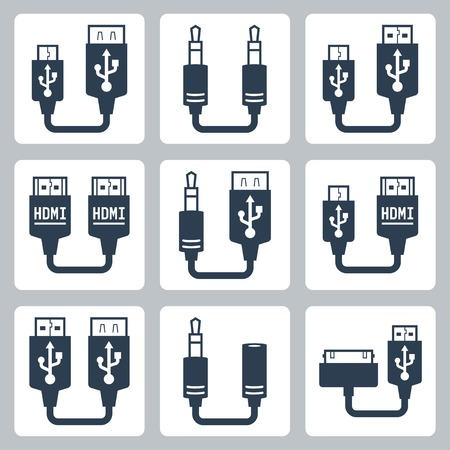 female connector: Adapter connectors vector icons set Illustration