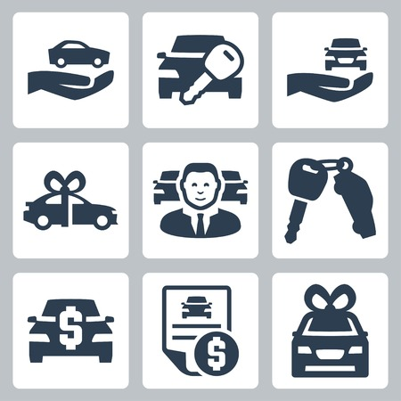 Car dealer vector icons set Çizim