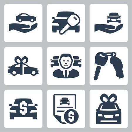 Car dealer vector icons set Illustration