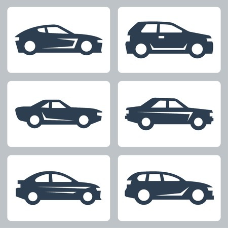 car transportation: Vector cars icons set, side view