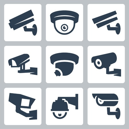 security monitor: CCTV cameras vector icons set