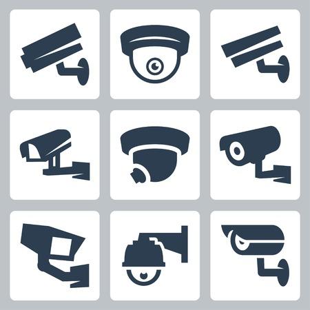 CCTV cameras vector icons set