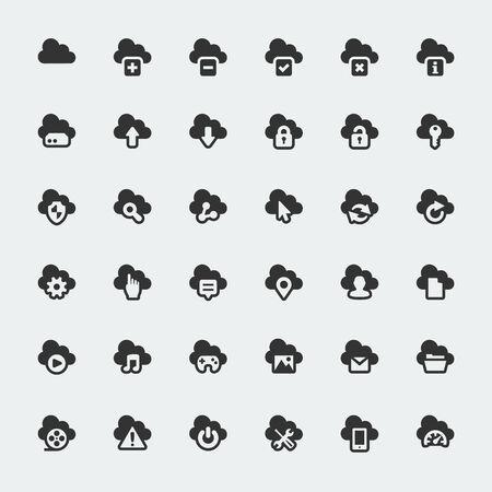 Cloud technology big vector icons set Vector
