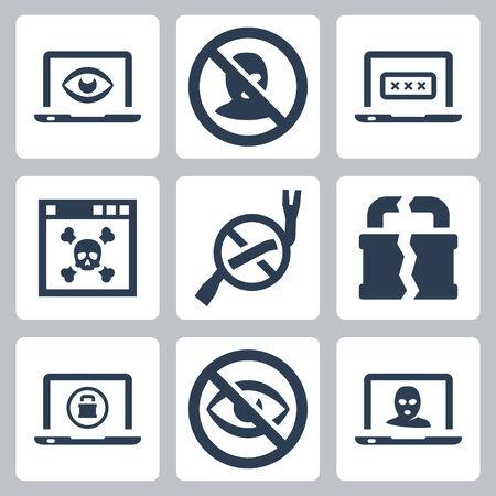 crowbar: Computer security vector icons set