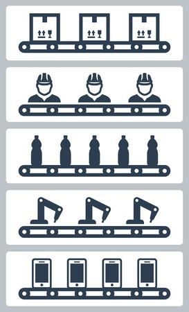 cinta transportadora: Ilustraci�n vectorial de silhoettes cintas transportadoras