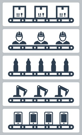 assembly line: Vector illustration of conveyor belt silhoettes