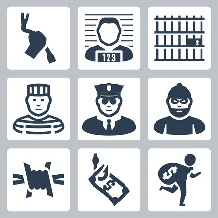 arrested criminal: Criminal and prison vector icons set