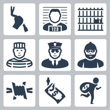 Strafrechtelijke en gevangenis vector pictogrammen instellen