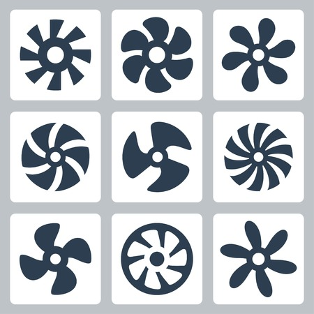 Fan propellers vector icons set Illustration