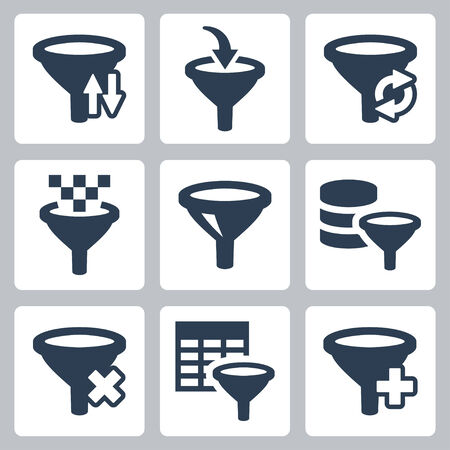 filtering: Filter related vector icons set