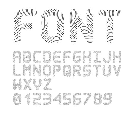 Vector fingerprint font  alphabet