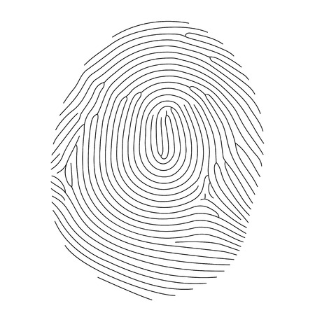 Vector fingerprint, thin line style Ilustração