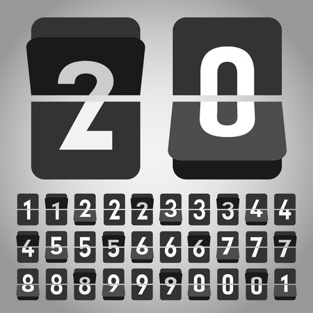 counters: Vector flip clock, flat style