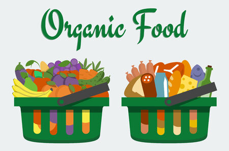 Vector illustration of baskets with food, flat style Vector