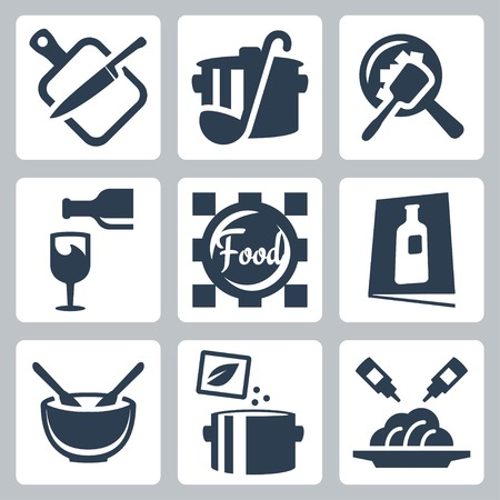 chopping: Cooking food and dining related vector icons set Illustration