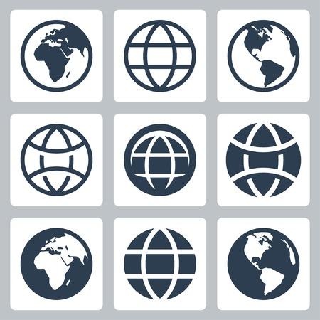 globe vector: Earth globe vector icons set