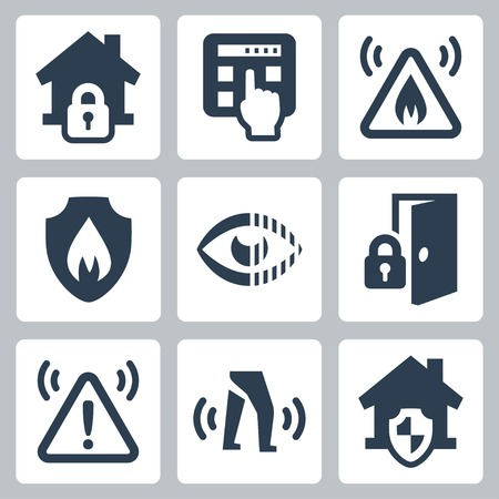 Home security vector icons set Stock Illustratie