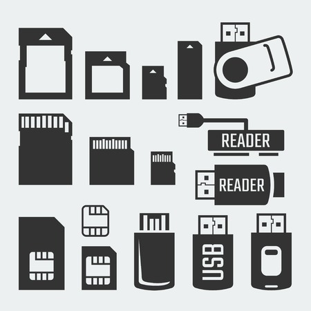 memory drive: Memory cards, sticks, readers and SIM cards vector silhouettes