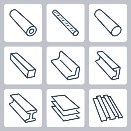 Gewalste metalen producten vector iconen set