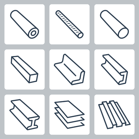 Rolled metal products vector icons set Illustration