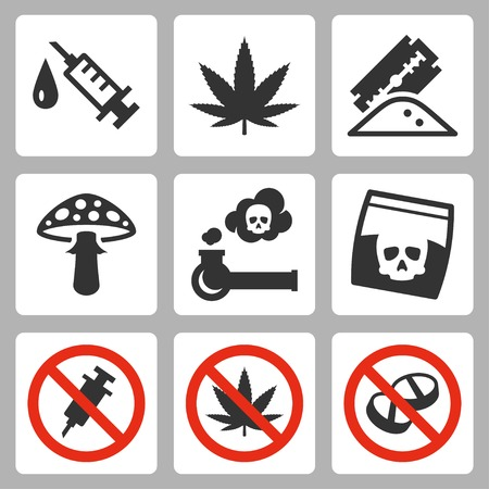 a drug: Illegal drugs vector icons set
