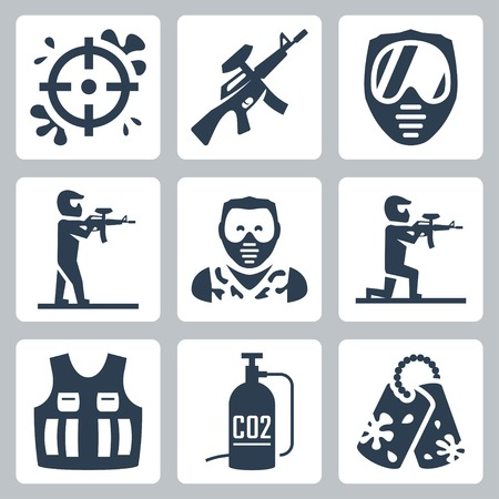 Paintball vector icons set Vector