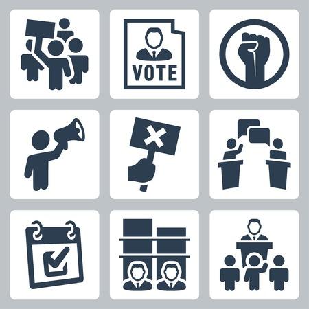 反対: 政治に関連するベクトルのアイコンを設定