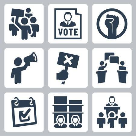 opposition: Politics related vector icons set Illustration
