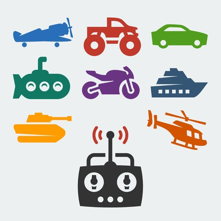 monster truck: Remote control toys vector icons set Illustration