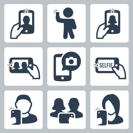 woman smartphone: Selfie related vector icons set