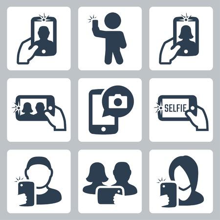 smartphone mano: Selfie relative icone vettoriali Vettoriali