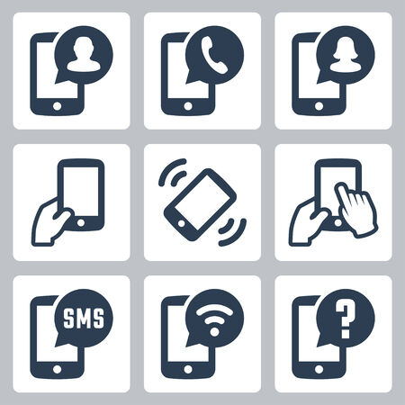 caller: Mobile phone functions vector icons set