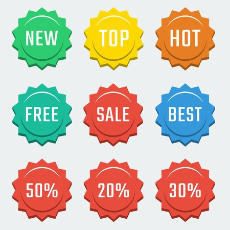 Vector colorful shopping related badges: new, top, hot, free, sale, best Illustration