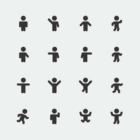 Stick men vector icons set Vector