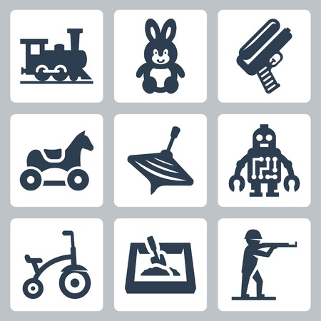 top gun: Childrens toys vector icons set: train, hare, water gun, horse, humming-top, robot, tricycle, sandbox, plastic toy soldier