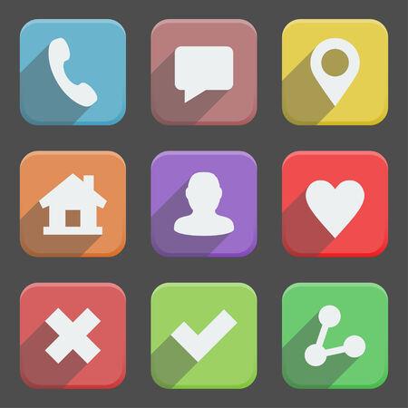 cross mark: Colorful web icons set, long shadows